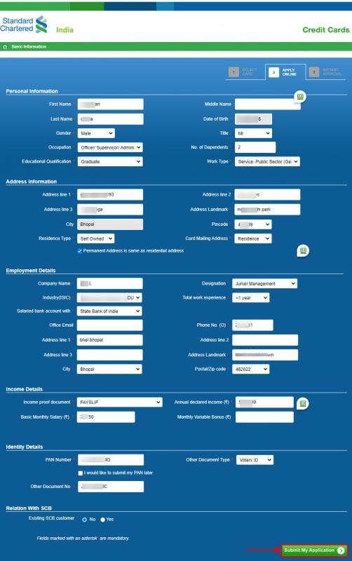 SC DigiSmart Credit Card online application - detailed application
