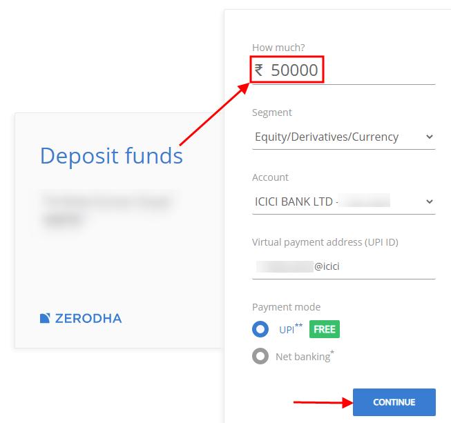 Zerodha -transfer funds using netbanking