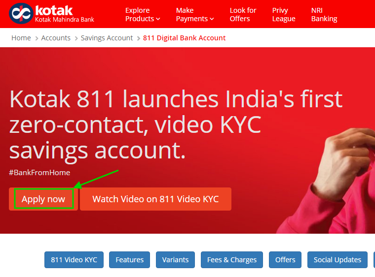 Kotak 811 account opening page