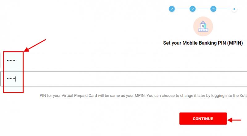 Kotak 811 account opening - create MPIN