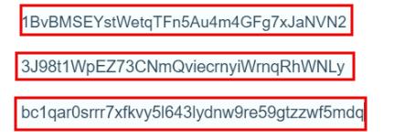 Bitcoin addresses example