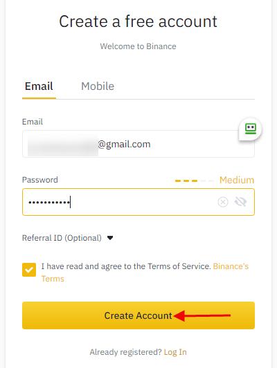 Binance Create account