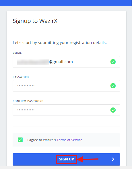 Create WazirX account - fill email & password details