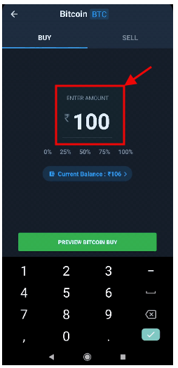 Enter Amount in QuickBuy