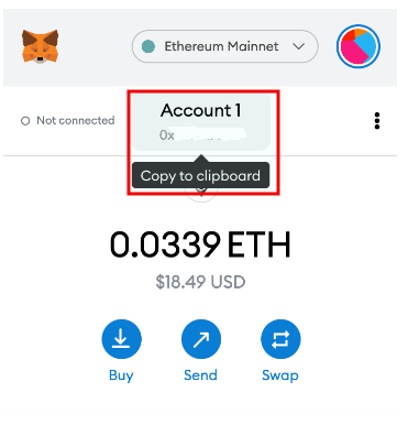 Hover over the account name