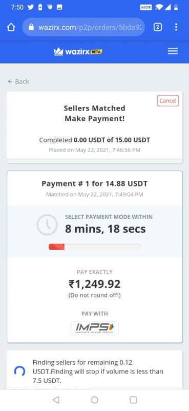 Initiate Payment to the USDT seller