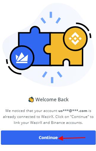 Linking accounts Binance and WazirX