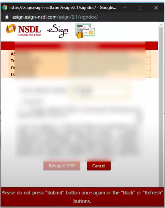 NSDL for e-signing account opening form