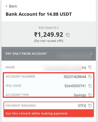 P2P account details of the seller