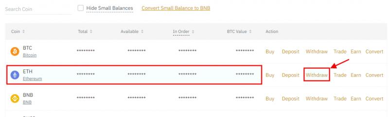 Select ETH on Binance