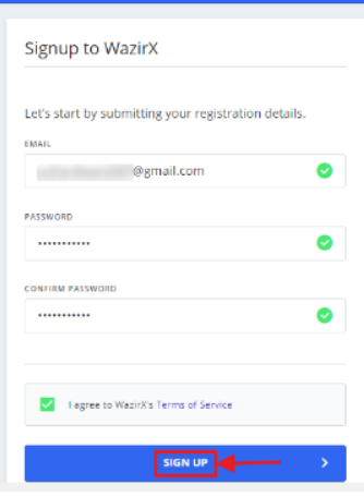 Signup into WazirX