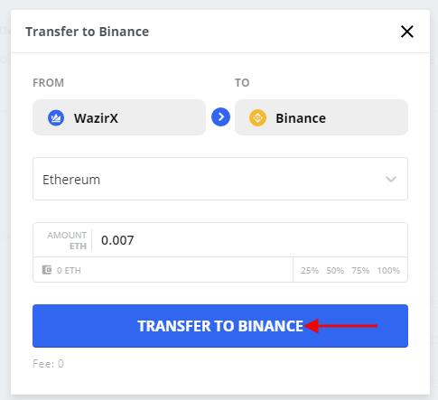 Transfer to Binance from WazirX