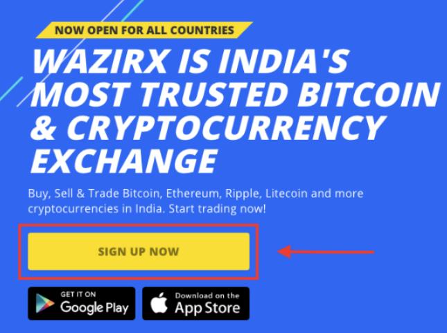WazirX website for opening account