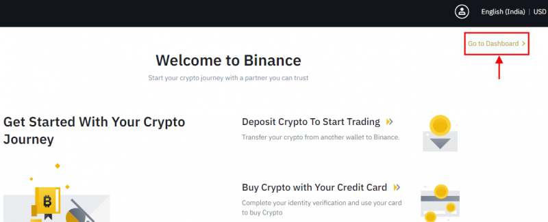 Welcome to binance - Goto dashboard