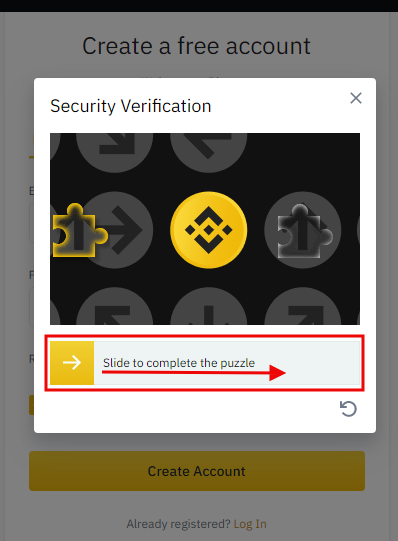Binance - slide puzzle to open account