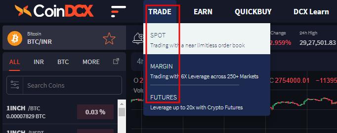 CoinDCX markets