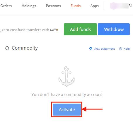 Activate Commodity Trading on Zerodha