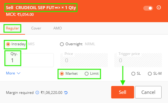 Crude Oil Sell - Buy trade